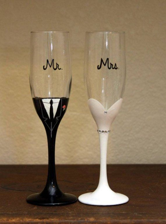 1256e56a564 Mr. and Mrs. Wedding Bling Champagne Flutes in 2019