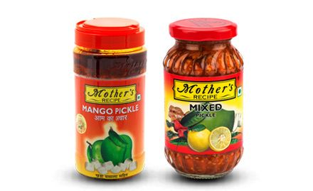 Rs 41 off on 1 kg pack of Mother's Recipe Mango Pickle & Mix Pickle. Valid at Big Bazaar outlets in select cities.