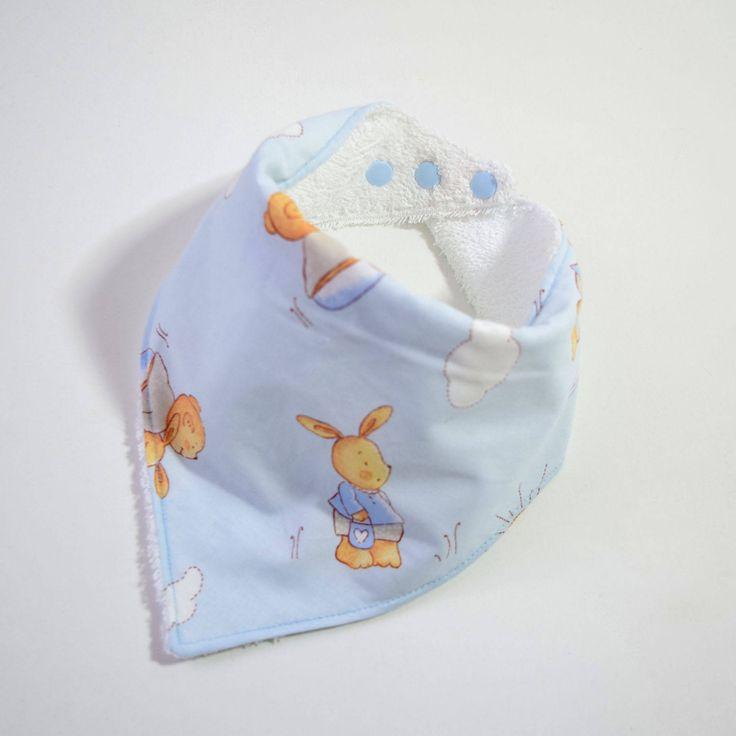 Rabbit bandana bib, bunny baby bib, Easter baby bandana, blue bunny dribble bib, bear baby bandana, baby boy drool bib, baby shower gifts by PinkBatStore on Etsy