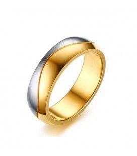 nemesacél gyűrű, Kéttónusú, férfi nemesacél karikagyűrű, hullám