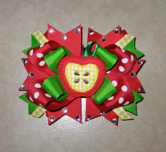 Apple Back to School Hair bow by KimsKreativeBowtique on Etsy, $10.00