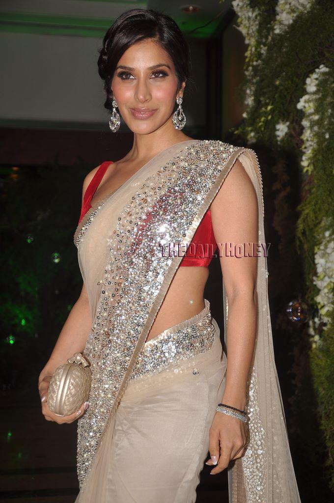 Love this sari-wear a sleeveless sliver blouse
