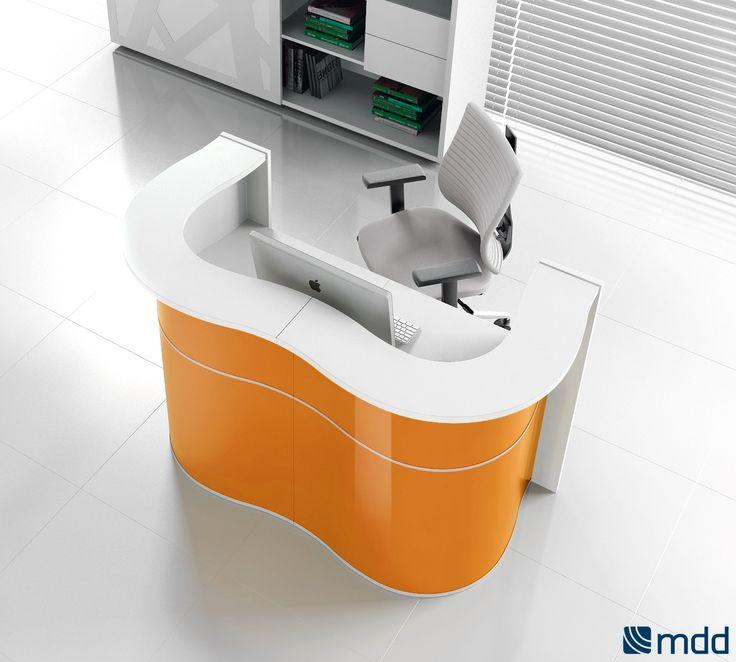 #Empfangstheken - Wave | #MDD | Theke | #Empfangstheke, #Büromöbel, #orange