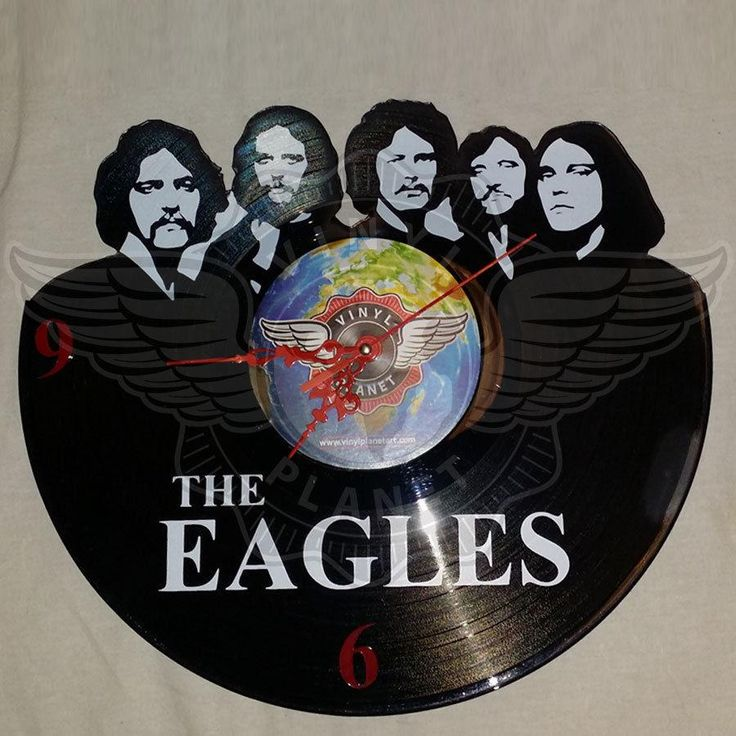 VINYL PLANET Wall Clock THE EAGLES Home Record Unique Decor upcycled 12''