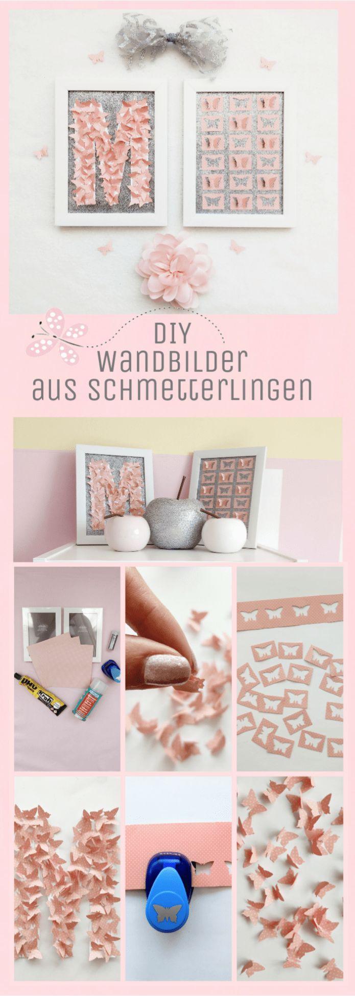 3D Wandbilder selbstgemacht – originelles Monogramm aus einem Motivstanzer mit Schmetterlingen basteln