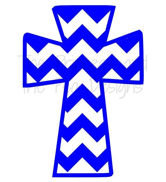 Chevron Cross Vinyl Decal Sticker Christian by ThePrincessDesigns