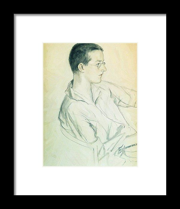 Portrait Framed Print featuring the painting Portrait Of Composer Dmitri Shostakovich In Adolescence 1923 by Kustodiev Boris