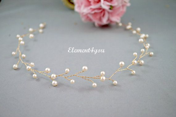 Bridal hair vines Swarovski ivory cream white от Element4you