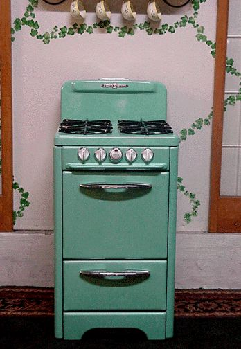 O'Keefe & Merritt Apartment Size Custom Color Green Porcealin Stove By Antique Gas Stoves