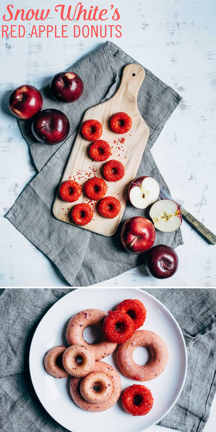 These types of apples are actually safe to eat. Snow White's Red Apple Donuts use ingredients, including butter, apple cider vinegar, sugar, sea salt, flour, ground cinnamon, nutmeg, and apple skin, topped with a strawberry glaze to give the recipe a bold flavor to match its vibrant look. No poison apples were used in this Disney donut recipe, we promise.
