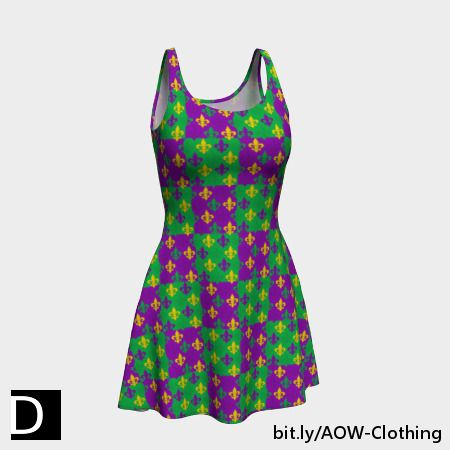 Celebrate Mardi Gras in this festive flare skater dress which features a pattern of purple, green, and gold fleur-de-lis symbols over a purple and green checkerboard background. #StudioDalio #mardigras #dressesonline #womenswear #womensclothing #womenstyle #clothing #WomensDresses #womensdress #festiveseason #CarnivalSeason #carnival #patterndesign #purplegreengold