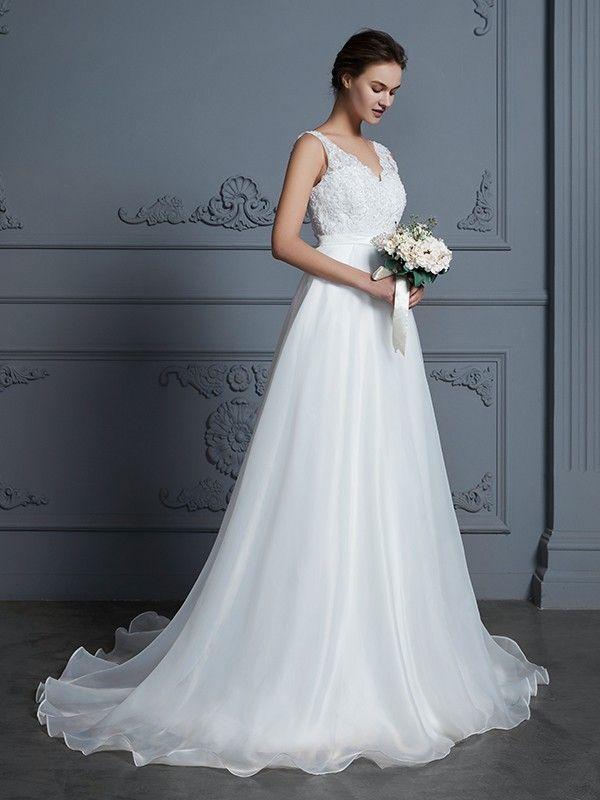 f8f798b4ff2 A-Line Princess V-neck Sleeveless Floor-Length Lace Chiffon Wedding Dresses  - Plus Size Wedding Dresses - Wedding Dresses - Hebeos…