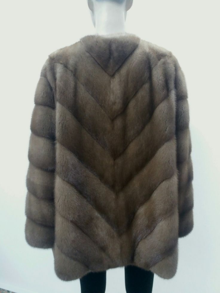 Pastel real mink fur jacket without collar