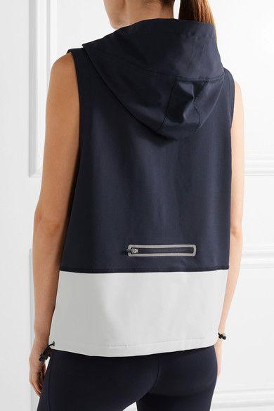 Midnight-blue stretch-jersey, white shell Zip fastening along front 96% polyester, 4% elastane; trim: 80% polyamide, 20% elastane Machine wash Imported