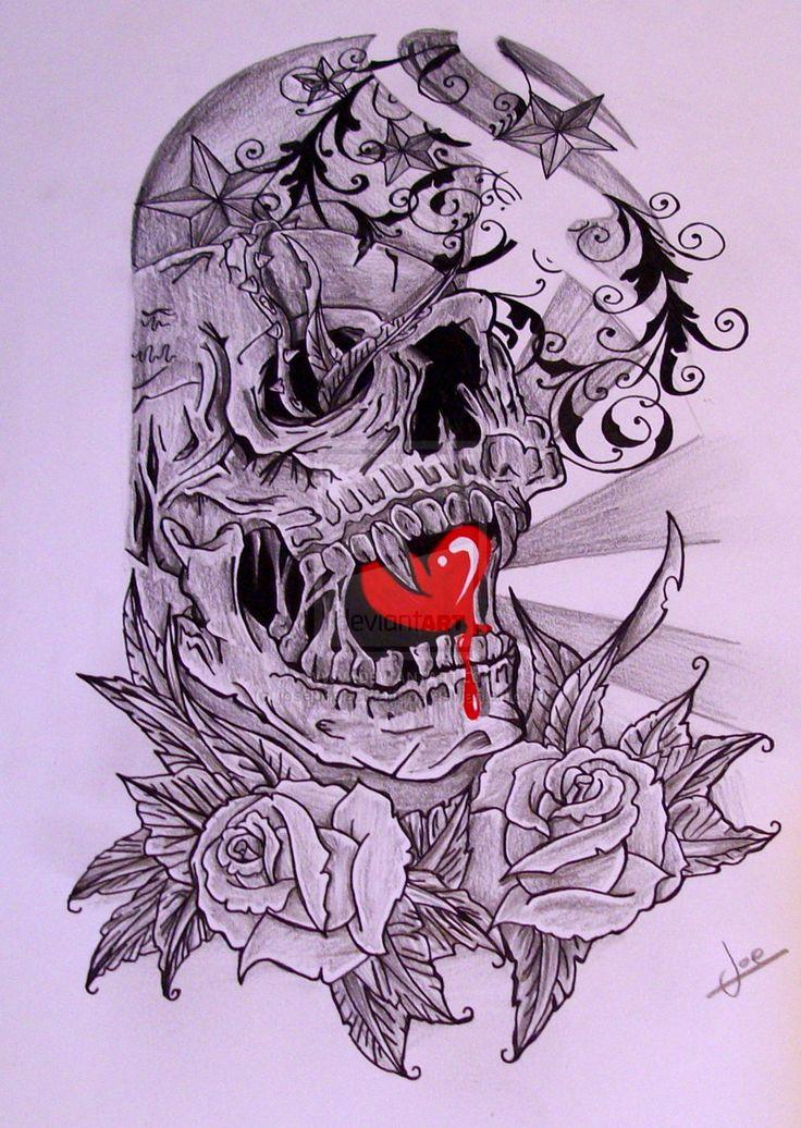 skull half sleeve designs half sleeve skull by