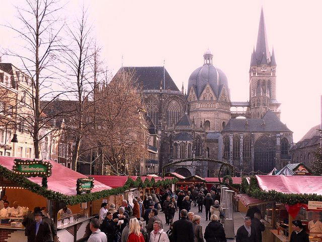"""The Aachen Christmas Market is Germany's nearest Christmas Market to the UK and can easily be reached from London in less than 4 hours by train.    Aachen's brightly lit Christmas market is set around the cathedral and town hall. This lovingly decorated """"Christmas village"""" on the market square has everything your heart could desire."""