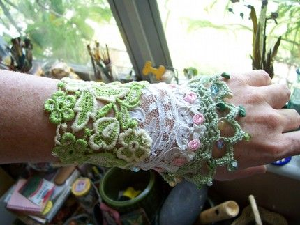 Upcycled doily cuff