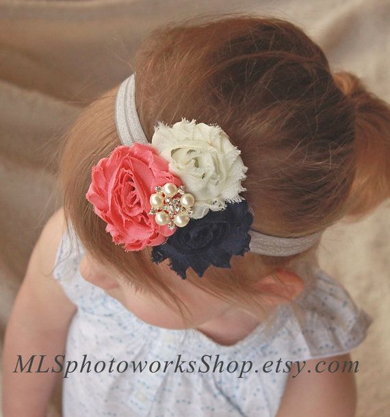 Navy Blue, Ivory and Coral Baby Girl Headband - Vintage Fall Color Palette Hair Bow for Babies, Toddlers and Girls
