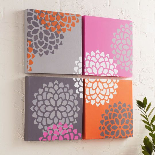 Paint this beautiful mum stenciled canvas to hang on your wall. Will not only look great for the...