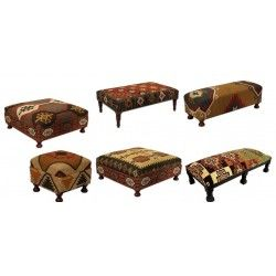 Kilim Jute Furniture Stool Footstool Bench Ottoman Coffee Table Cocktail  Table