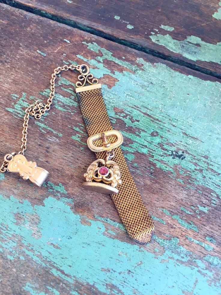 Antique Victorian Gold Filled Vest Clip Mesh Pocket Watch Chain w/ Wax Seal Fob by Holliezhobbiez on Etsy