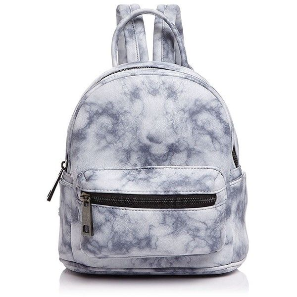 Street Level Marble Print Mini Backpack (£50) ❤ liked on Polyvore featuring bags, backpacks, day pack backpack, rucksack bags, backpack bags, white mini bag and white bag