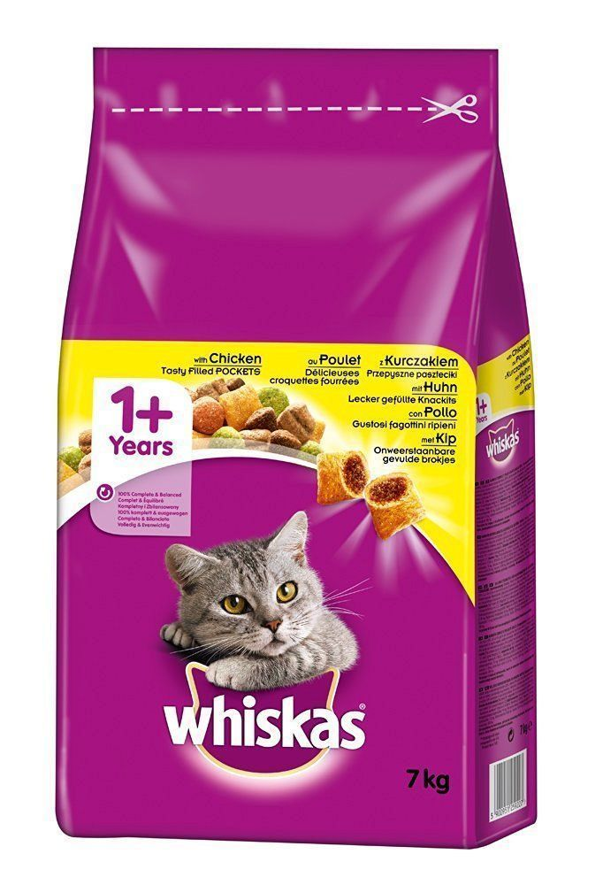 Whiskas 1 Adult Cat Complete Dry Food With Chicken 7kg New