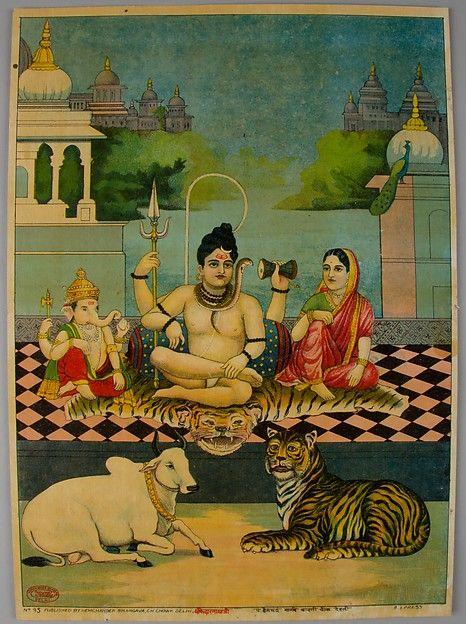 Shiva, Parvati. and Ganesh. Date: 1900–20. Medium: Lithograph with varnish