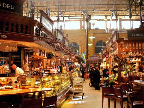 Östermalms Saluhall, a food hall in Stockholm full of food stands and cafes