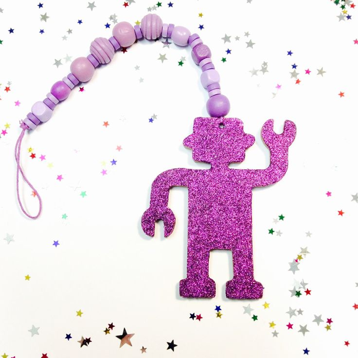 A personal favourite from my Etsy shop https://www.etsy.com/au/listing/483826293/wooden-bead-garland-glitter-robot-art
