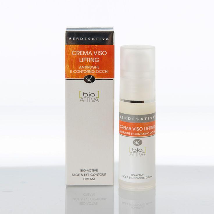 Crema lifting bioattiva per viso e contorno occhi. Con olio di canapa e olio di avocado.