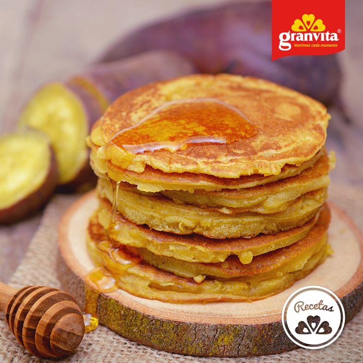#Receta: Hotcakes de avena y camote.   Fáciles de preparar y de un gran sabor.