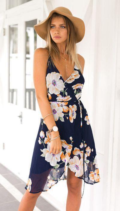 Flower Spaghetti Strap Sleeveless Irregular Knee-Length Dress