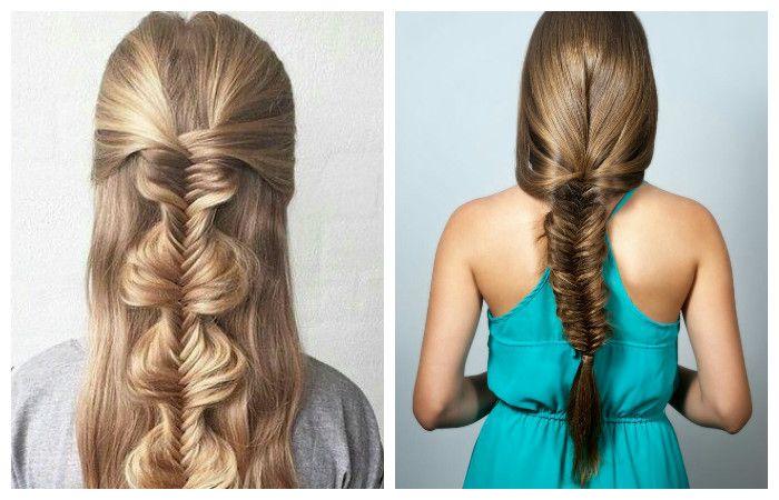 """Прическа """"рыбий хвост"""" для длинных волос, фото"""