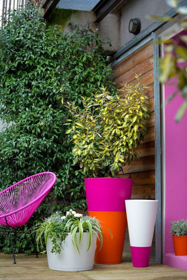 Pots colorés pour la terrasse, Grosfillex