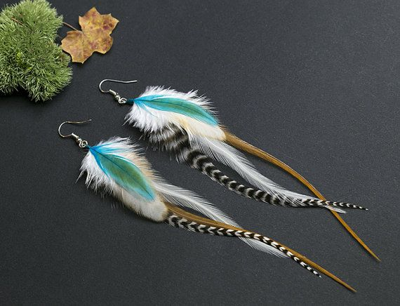 White feather earrings: real natural by NatureFeatherJewelry