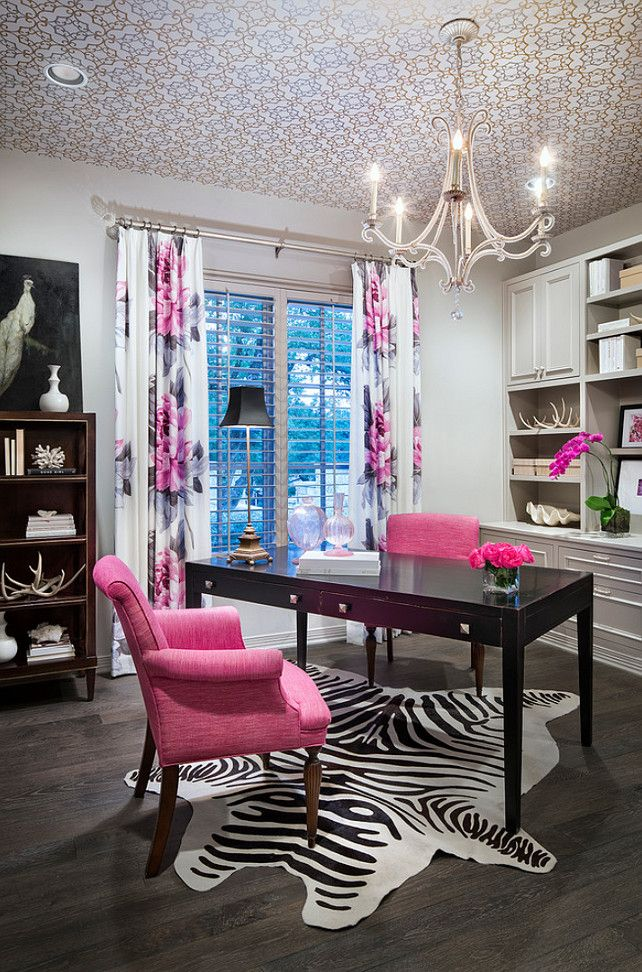 pink and grey office features a trellis wallpapered ceiling accented with an oslo chandelier hanging over am angled black desk lined with hot pink chairs bedroommagnificent office chair performance quality