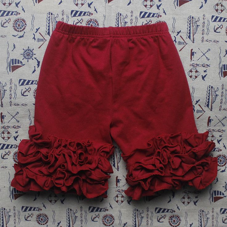 3M-10T Cotton Ruffle Shorts Maroon Toddler Girls Shorts Kids Knit Icing Baby Girl Shorts Children Summer Clothes Shorties
