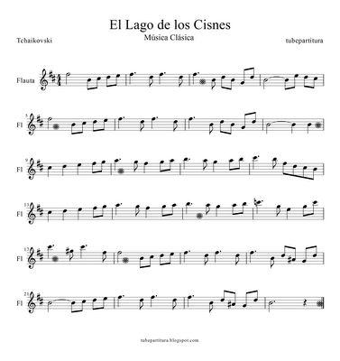 Partitura de flauta para El Lago de los Cisnes de Piotr llich Tchaikovski Partitura musical fácil para aprender a tocar flauta travesera, flauta de pico o dulce afinadas en Do y en clave de sol