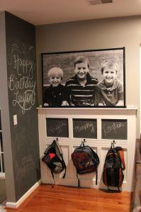 the Backpack Wall...love the chalkboard wall too!
