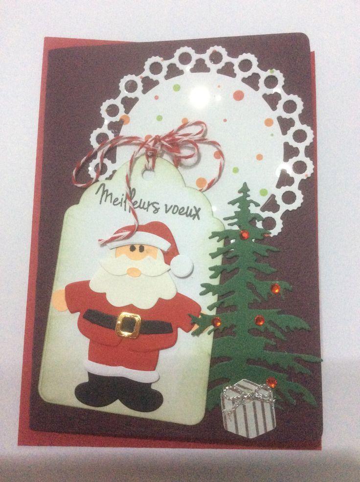 carte voeux Noel Die Père noel die sapin die etiquette