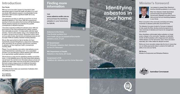 """This is the brochure that was produced to market our first book """"Identifying Asbestos in Your Home"""""""