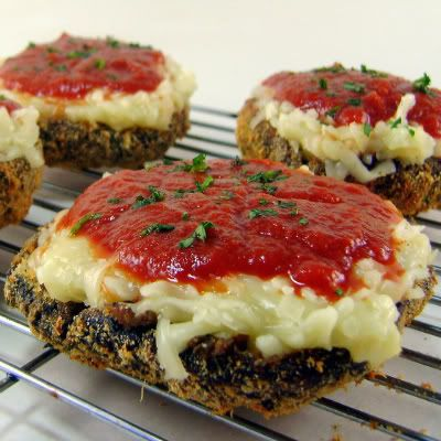 One Perfect Bite: Baked Portobello Parmesan - A Dieter's Delight - Foodie Friday: Low Carb, Parmesan Portobello, Baked Portabello, Portobello Parmesan, Portabello Parmesan, Baked Portobello, Meatless Monday