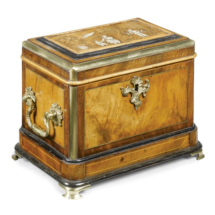 A German brass-mounted walnut tea caddy mid 18th century, in the manner of Abraham Roentgen the top decorated in shell with a chinoiserie scene, the now void interior velvet lined, with a secret drawer to the side See my board for the Roetengens Father & Son Ann Wardley