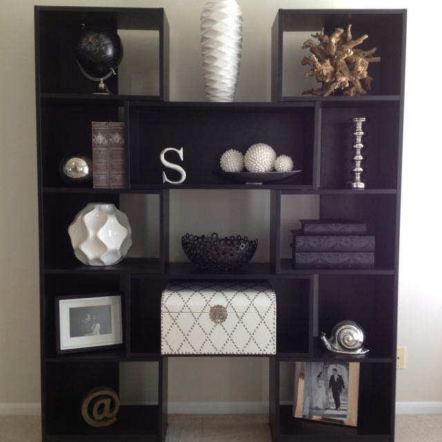 Puzzle bookcase living room decor black and white for Shelf decor items