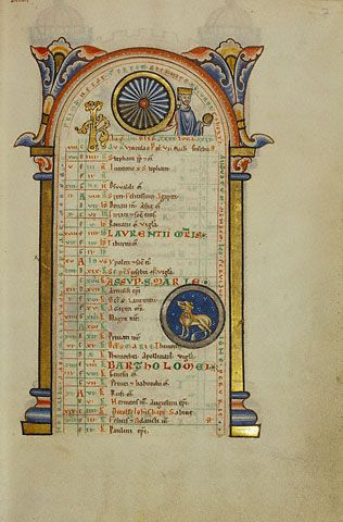 Augustus Caesar; Zodiacal Sign of Leo,   German, Hildesheim, about 1170s   Tempera colors, gold leaf, silver leaf, and ink on parchment   11 1/8 x 7 7/16 in.   MS. 64, FOL. 7   -- The Getty