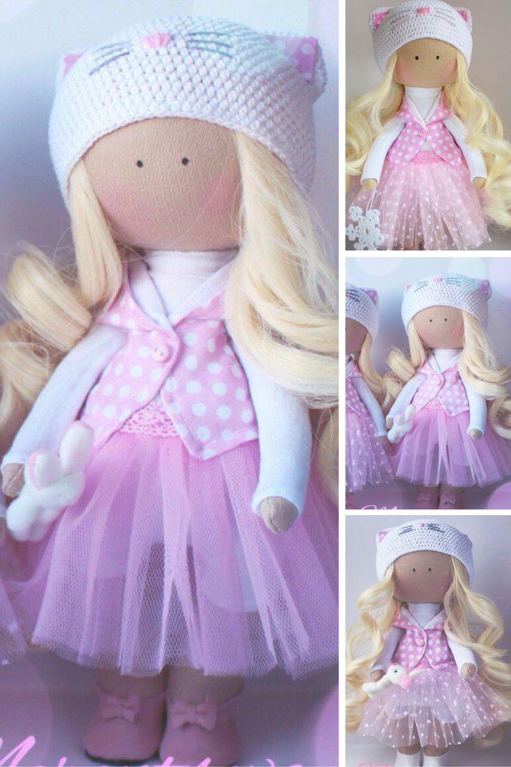 Handmade doll Christmas dollRag doll Tilda doll Fabric doll Pink doll Cloth doll Interior doll Nursery doll Soft doll Baby doll by Elena: https://www.etsy.com/listing/486858416/handmade-doll-christmas-dollrag-doll
