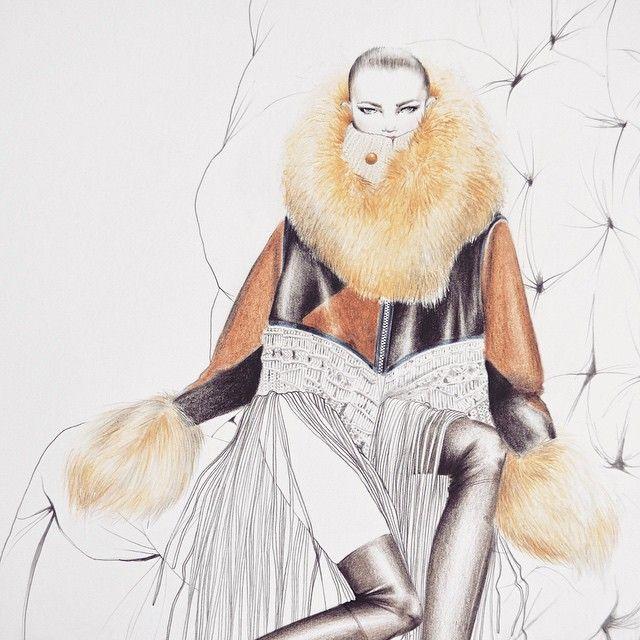 Terminé! #sacai #sacai2015 #parisfashionweek #pfw #handmade #fur #leather #knit #fashion #fashionsketch #fashionillustration #illustration #illustrator #lauracuadros #lauracuadrosart #lauracuadrosillustrator #peruvian