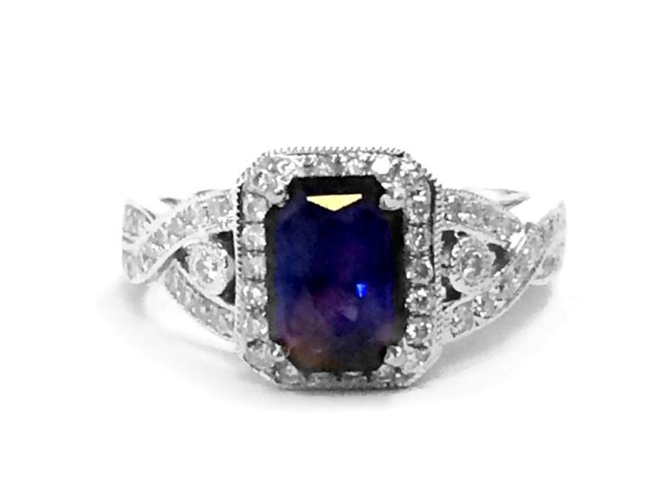 14K White Gold Color Change Sapphire and Diamond Ring