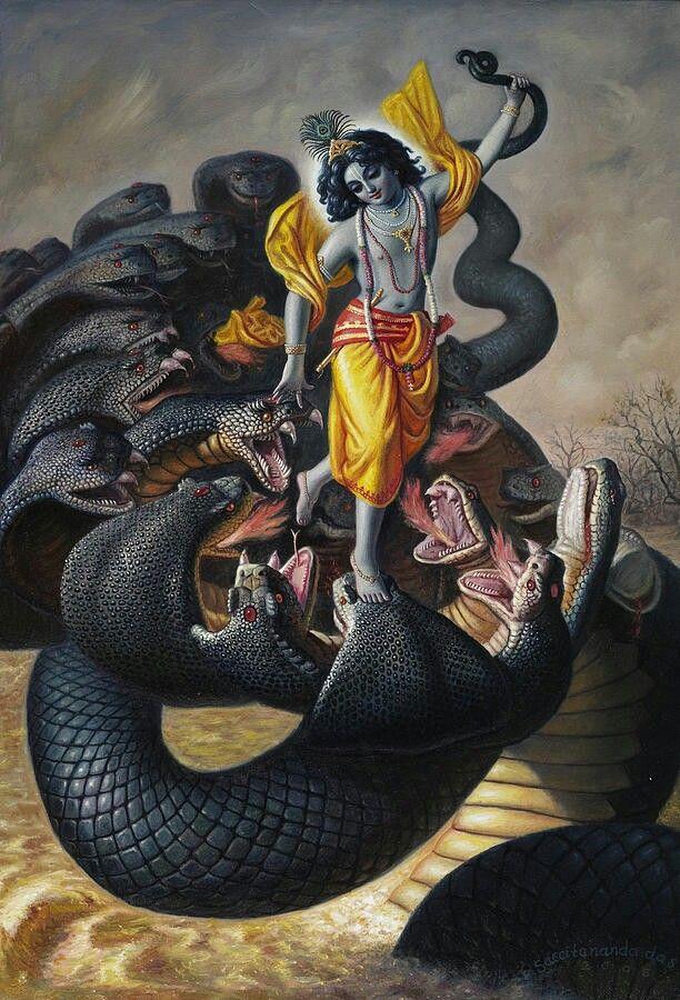 Lord Krishna taming serpent Kaaliya